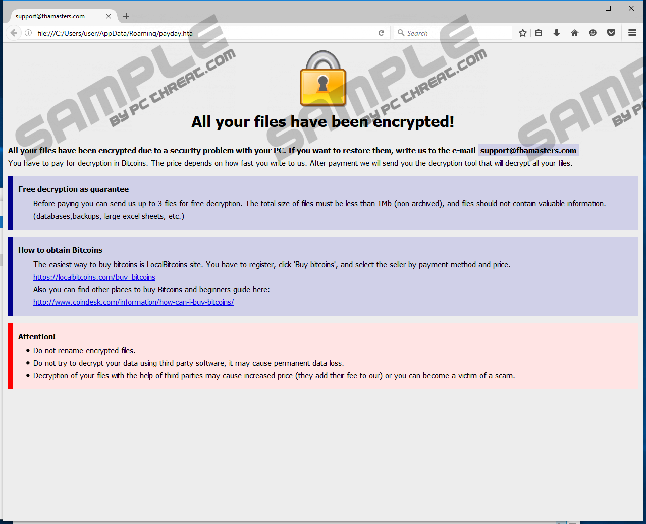 Remove BTCWare-PayDay Ransomware
