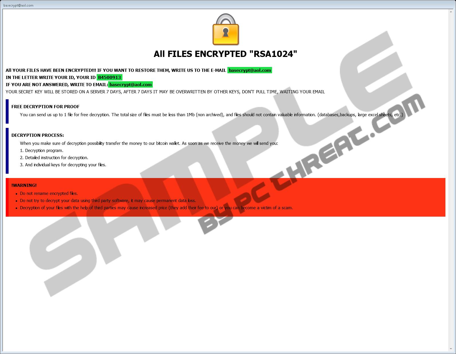 Remove Basecrypt@aol com Ransomware